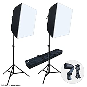 "Linco Lincostore Photography Photo Studio Lighting 24""x24"" Softbox Light Stand Kit AM206"