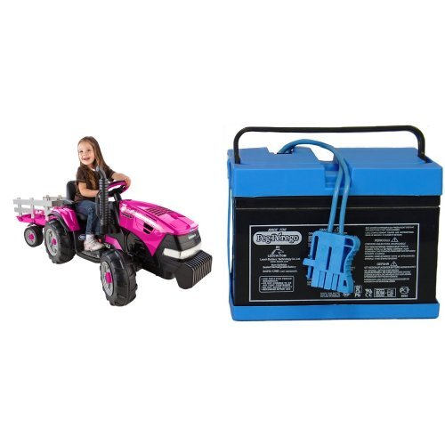 Peg Perego Case IH Magnum Tractor Pink Ride On with Trailer with 12 Volt Battery Bundle