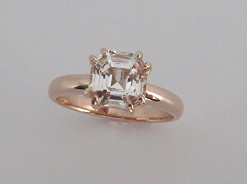 White Topaz Diamond alternative Gemstone Ring 14k Rose gold Engagement Ring Asscher Cut Unique Ring Bride