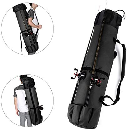 Fishing Tackle Bag Gift for Family Father culpeo Fishing Bag Fishing Rod /& Reel Organizer Bag Travel Carry Case Bag- Holds 5 Poles /& Tackle Friends