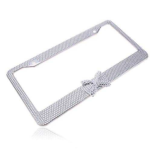 - Handmade Fashion Clear Frame Clear Bow Bling Crystal Car License Plate Frame Cute Waterproof Gift Rhinestone SUV License Plate Holder Stainless Steel Truck Plate Frame (1 Frame)