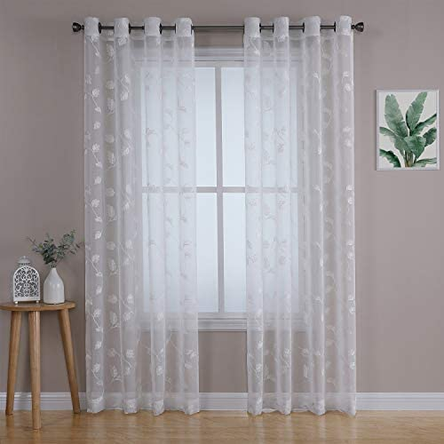 Haperlare White Floral Sheer Curtains 95 Inches, Elegant Leaves Pattern Matched Ribbon Embroidery on Textured Sheer, Grommet Window Curtains for Living Room and Bedroom, 2 Panels