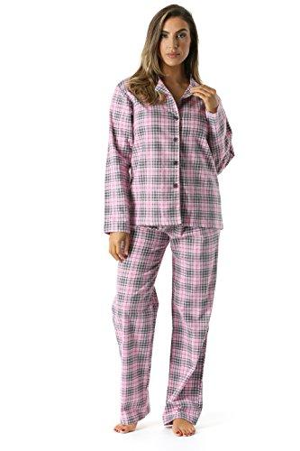 (6371-10233-2X #FollowMe Printed Flannel Button Front PJ Pant Set, Pink - Diagonal Plaid, 2X Plus)