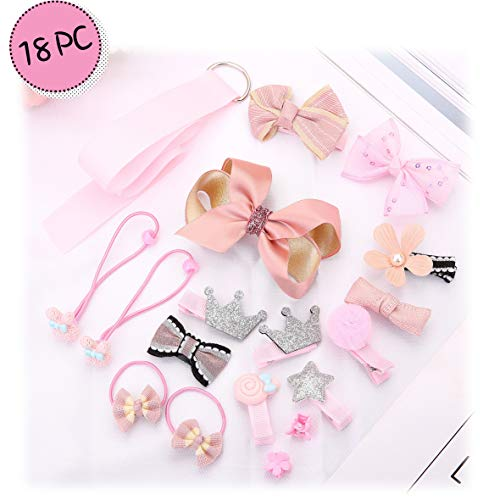 Little Angels Kids Bow Flower Mixed Design Hair Clips Hair Ties 18-pc Set for Babies, Toddlers, Girls (Pink) by Little Angels Kids