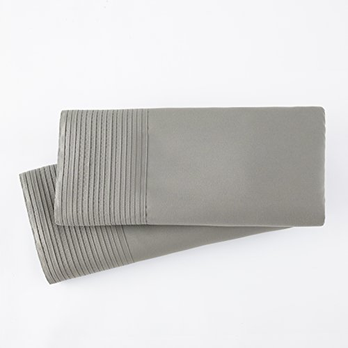 Pleated Linen (Southshore Fine Linens - Vilano Springs - Pair of Pleated Pillow Cases, Steel Grey, King)