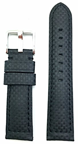 Medium Leather Watch Strap - 22mm Black Genuine Carbon Fiber Leather Watch Band | High Performance, Thick, Durable, Medium Padded Replacement Wrist Strap that brings New Life to Any Watch (Mens Standard Length)