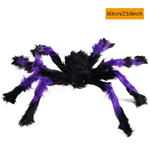 Purple Halloween Spider - KAIYANG 23.6Inch Giant Halloween Black Spider, Plush Color Spider Props, Scary Hairy Fake Spiders for Kids Indoor Outdoor Yard Party Decors Halloween Decorations(23.6 Inch, Purple)