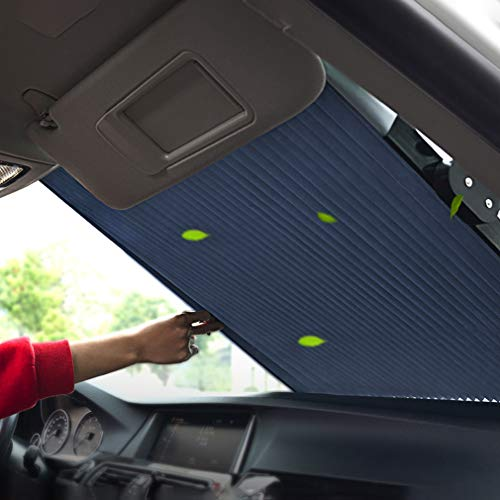 Tysonir Car Windshield Sun Shade,Retractable Sun Shade,Car Sunshade to Keep Your Vehicle Cool Prevent UV Sun into The Car,Fits Windshields of Various Sizes (Standard 59 x 27.5 Inches)