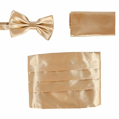 Set Gold Blend Men's Bow Pocket HDE Satin Square Formal and Cummerbund Tuxedo Tie HqwR5g
