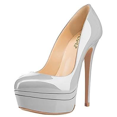 AOOAR Women's Double Platform High Heel Pumps Grey Size: 5