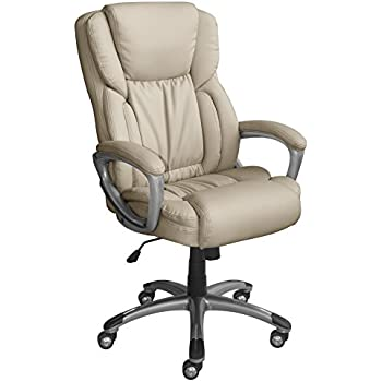 Charming Serta Works Executive Office Chair, Bonded Leather, Beige