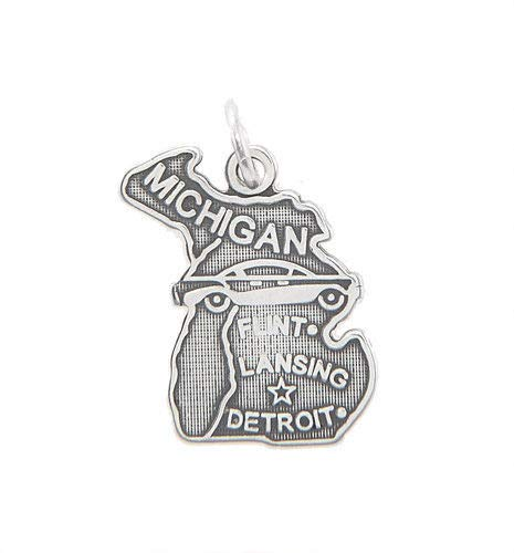 Sterling Silver Michigan State Charm/Pendant Jewelry Making Supply Pendant Bracelet DIY Crafting by Wholesale Charms ()