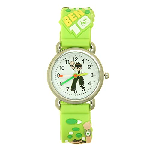 Top Ben 10 Kids 3D Cartoon Green Rubber Band Stainless Steel Case Water Resistant Quartz Watches (Ben 10 Omniverse And Then There Was None)