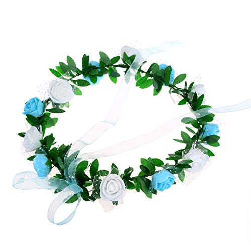 (Juesi Rose Floral Crown Wreath with Adjustable Ribbon Girls Flower Headband Boho Garland Halo Headpiece)