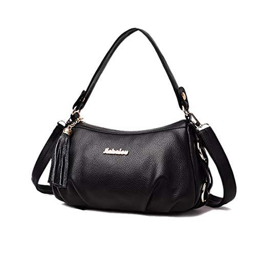 Artwell Shoulder Bag for Women Leather Tassel Crossbody Bag Small Messenger Bag Multi Zipper Handbag Satchel (Black) by Artwell
