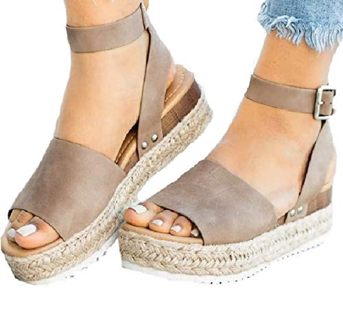 DEARWEN Women's Open Toe Espadrilles Sandals Ankle Strap Platform Wedge Studded Boho Cute Shoes Khaki US -