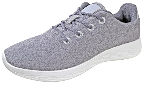 Urban Fox Mens Parker Wool Sneakers | Wool Shoes | Runners Running Shoes | Walking Shoe for Men | Light Grey/White 13