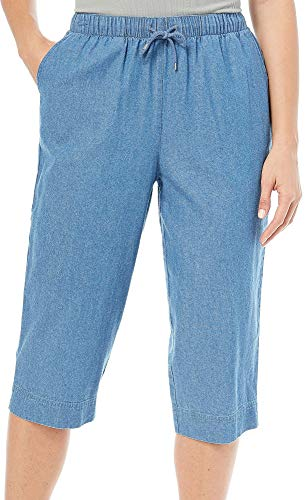 Coral Bay Womens Denim Pull On Capris X-Large Light wash