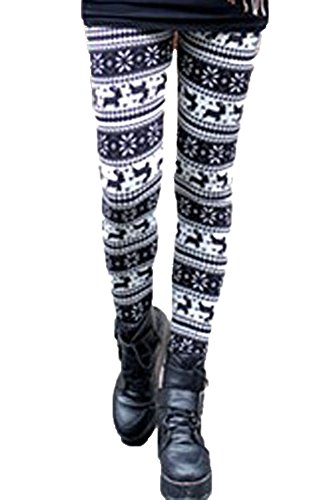 made2envy Fleece Lined Reindeer and Snowflakes Winter Leggings (M, Animal Print), C79469M by made2envy