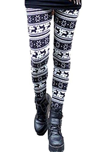 made2envy Fleece Lined Reindeer and Snowflakes Winter Leggings (M, Animal Print), C79469M ()