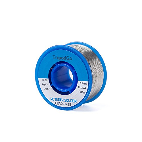TripodGo Solder Wire, Lead Free, 100g with Rosin Core for Electrical Soldering, Sn99 Ag0.3 Cu0.7 0.8mm
