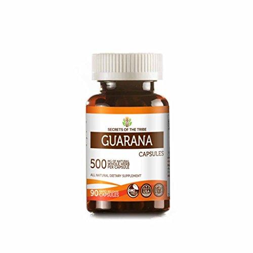 Guarana 90 Capsules, 500 mg, Organic Guarana (Paullinia Cupanais) Dried Seed (90 Capsules) - Guarana Seed