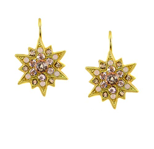 """Mariana """"Golden Tulips"""" Collection Yellow Gold Plated Star Burst Drop Earrings with Swarovski Crystals"""