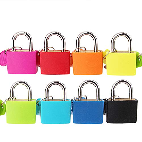 Mini Lock and Key Set Strong Steel Padlock Travel Suitcase Diary Lock with 2 Keys Perfect Padlock for Securing Your Suitcase Jewelry Boxes Gym Locker Tote Mini Fridge Cabinet and More (Pink) by paway (Image #2)