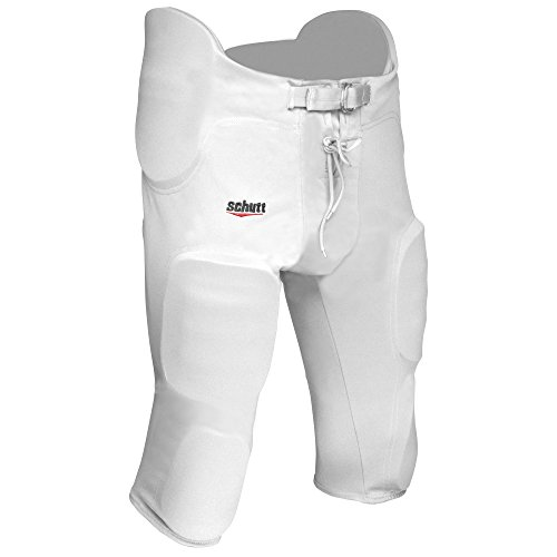 Schutt Sports Poly-Knit All-in-One Youth Football Pants with Integrated Pads White, XX-Large