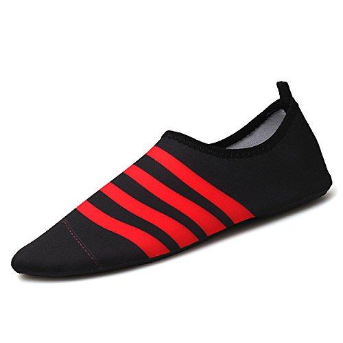 zapatos Lucdespo correr de negro deportivos buceo de cuidado al el la aire descalzo playa Natación libre calzado la los en zapatos antideslizante cintas rojo SK5 piel FxFCzYr7wq