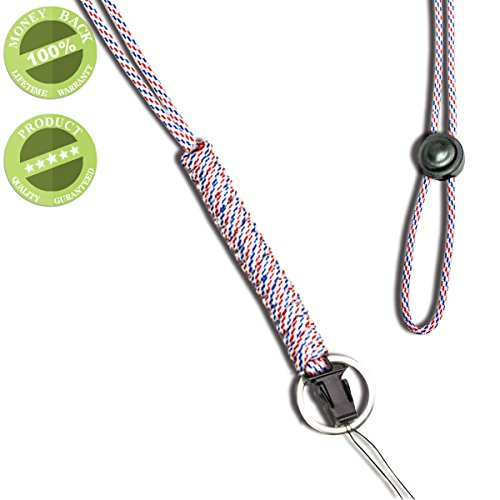 WALNEW 25-Inch Fashion Strong Survival Paracord Lanyard Necklace with Carabiner, Alloy Ring and Clip for Mobile phones, Keys, Flashlights, ID cards, Whistles, USB drives, Knives etc , Bluewhite