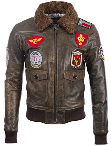 Aviatrix Blouson Aviateur de vol Pilote Effet Vintage en Cuir Veritable pour Homme avec Badges (TM72) 1