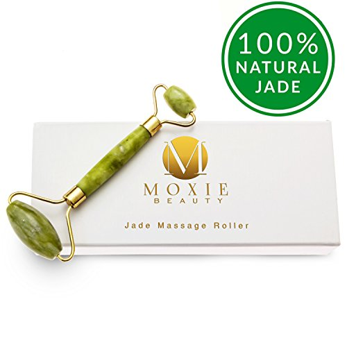 Jade Massage Roller for Face,Neck,Eyes by Moxie Beauty | Reduce Wrinkles, Fine Lines, Puffiness, Dark Circles | Premium Anti Aging Facial Therapy | 100% Natural Skin Care Tool | Includes Storage Box