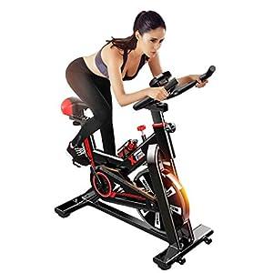 41BDejtQ9%2BL. SS300 YOVYO Cyclette da Interni Verticale, Allenamento Spin Bike Cyclette, Regolazione della Resistenza Libera, Sedile E Braccioli Regolabili, Schermo LCD, Struttura Triangolare Stabile