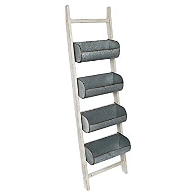 Kate and Laurel Pothos Wood and Metal Leaner Storage Bin Ladder