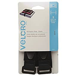 VELCRO Brand - All Purpose Straps - 27'' x 1'' All Purpose Strap - Elastic, 2 Ct. - Black