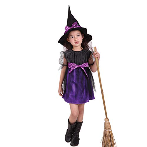 Novel Witch Kids Costume Halloween Miss Matched Witch Girls Fancy Dress Costume pretty lovely outfit Child dress Skirt,Perfect for carnivals, indoor events,theme parties and Halloween etc,XL(height:12]()