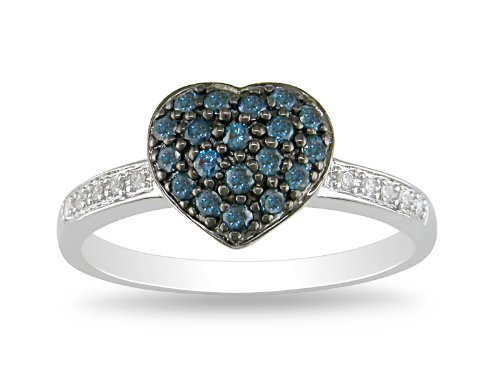 10K White Gold Blue and White Diamond Ring, (.33 cttw, GH Color, I2-I3 Clarity ), Size 5