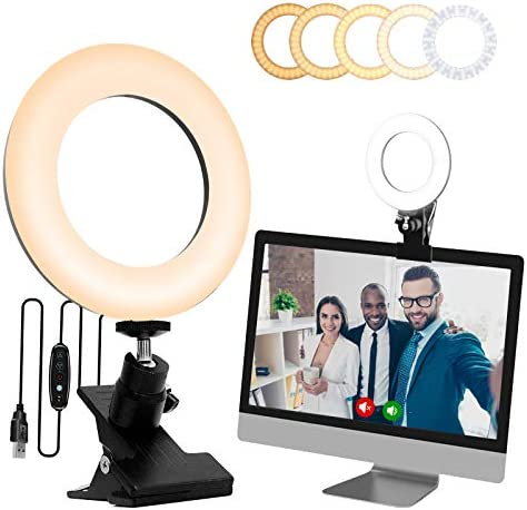 SINCOO Selfie Ring Light with Monitor Clip On,Computer Laptop Video Conferencing,Computer Monitor Light for Remote Working, Self Live Streaming