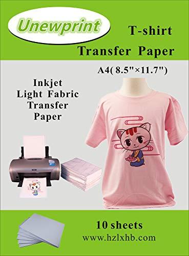 Heat Transfer Paper for Light Fabric, Inkjet Heat Transfer Paper 8.5''11'', Customer Pack 10 Sheets, by Unewprint (8.3''11.7
