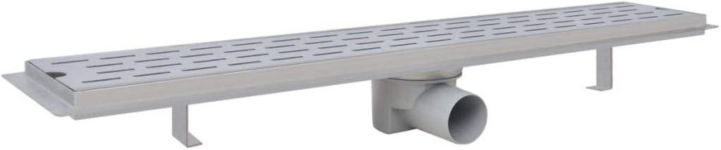 Festnight Desag/üe Lineal de Ducha con 1 pa/ño Impermeable Altura Ajustable Alta Capacidad de Descarga 40 L//min 530 x 140 mm