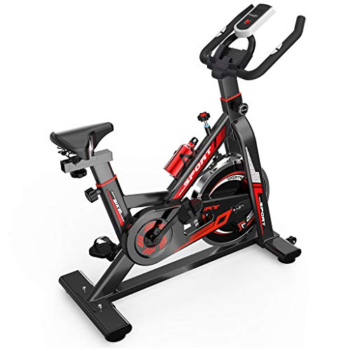 Indoor Exercise Cycling Bike, Ultra-Quiet Stationary Upright Spinning Bicycle with Tablet Stand and Adjustable…