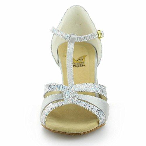 Chaussures Jia 7 Sandales '' Latin Femmes De Danse Scintillante Évasé Talon Des Paillettes 20519 Argent 2 Satin Avec Super Pour 6w6q1prC