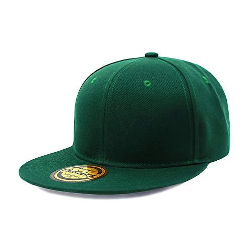 - Flat Visor Snapback Hat Blank Cap Baseball Cap - 8 Colors (Hunter Green)