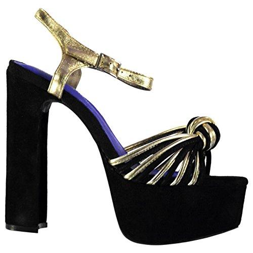 Jeffrey Campbell Harmonie Talon Haut Chaussures Femme Fashion Chaussures NOIR/doré