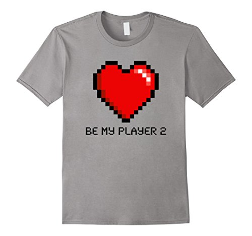 Mens Valentines Day 8-Bit Be My Player 2 Heart T Shirt - Funny Small - 8 Bit Heart