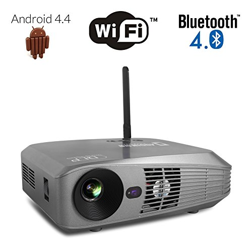 Aodin android smart dlp projector portable android 4 4 for Highest lumen pocket projector