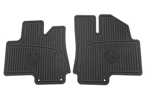 General Motors GM Accessories 19172258 Front All-Weather Floor Mats in Ebony with Deep Patterned Grid and Crest and Wreath Logo