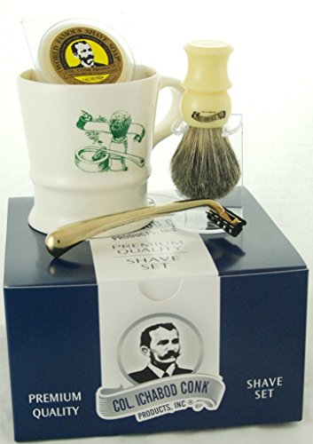 Colonel Conk Model 240 A Shave Mug, Mixed Badger Brush, Gold Tone Razor and Soap from Col. Conk Products, Inc.