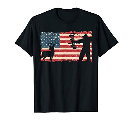American Compound Bow Hunting Flag T-Shirt
